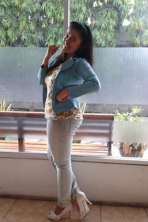 unbranded blazer - pink jeans - unbranded shirt - FLD heels