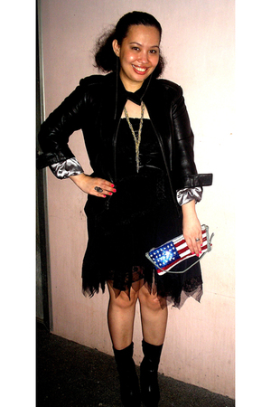 black Mervin Richards jacket - black human skirt - red Topshop purse - black dun