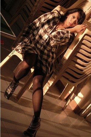 black boots - black dress - black top - black stockings - black necklace