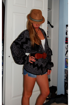 flee market hat - shirt - thrift sweater - Urban Outfitters belt - shorts