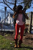 blue thrifted jacket - pink Ralph Lauren shirt - red CASSETTE jeans - brown Minn