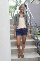 green Gap jacket - gold Jcrew blouse - blue American Eagle shorts - brown Minnet