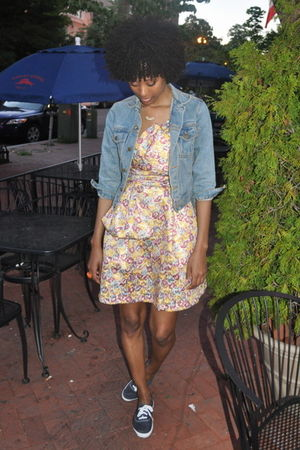 blue thrifted jacket - pink Zac Posen for Target Brocade dress - blue Keds shoes