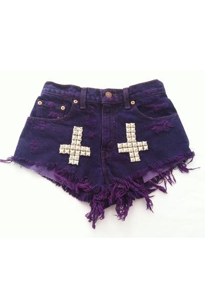 deep purple studded cross Omen eye shorts