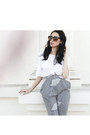 Gray-modest-mob-pants-white-cropped-shirt-beige-foxy-jeffrey-campbell-heels