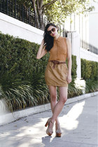 beige foxy suede Jeffrey Campbell heels - camel high-waisted Modest Mob skirt