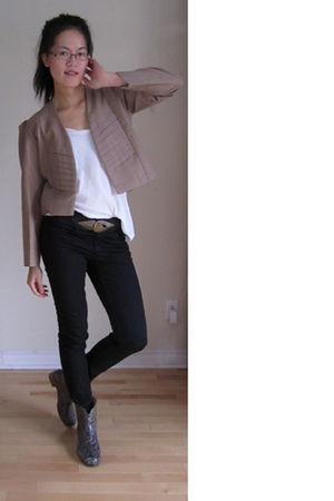 beige blazer - black H&M pants - Sarrah Zenne boots