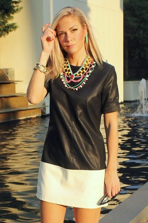 leather asos dress - cat eye house of harlow sunglasses