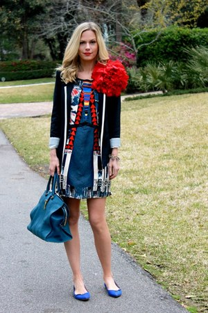 print Forever 21 dress - piped Wallis blazer - leather YSL bag