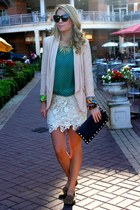 eggshell lace the cheeky bean skirt - beige nude the cheeky bean blazer