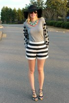 statement J Crew necklace - diy asos sweater - striped asos shorts
