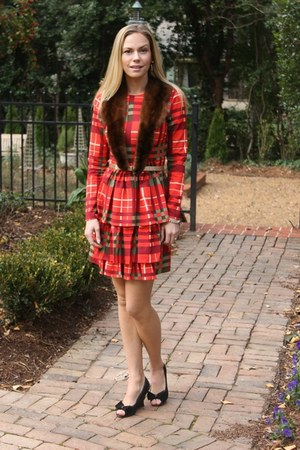 plaid asos dress - fur vintage scarf