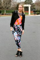 moto Forever 21 jacket - sequin asos top - floral asos pants