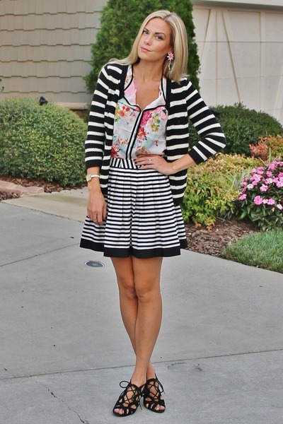 stripes Old Navy cardigan - striped Forever 21 skirt - chinoise H&M top