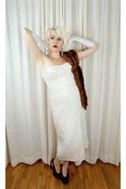 silver vintage 1950s necklace - white sequin vintage 1950s dress