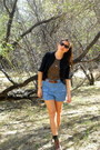 Brown-thrifted-boots-dark-brown-thrifted-shirt-sky-blue-thrifted-shorts