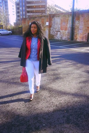 BHS coat - Miss Selfridge jeans - Yoox blazer - Tracy M shirt - asos bag