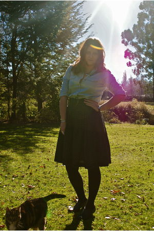 blue Glassons shirt - black Zara skirt - black Pulp boots
