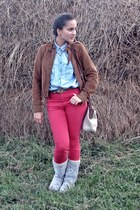 brown Zara jacket - light blue patterned Ugg boots - red H&M jeans