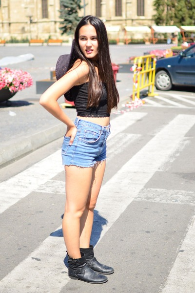 gray Zara boots - gray cowboy hat - blue DIY shorts - black cropped Zara top b72466f6ee5