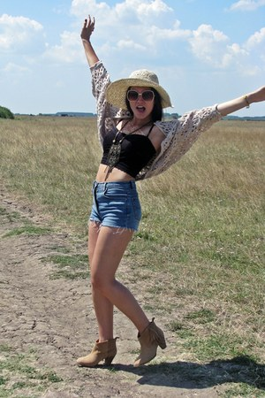 tan Stradivarius boots - beige Terranova hat - blue DIY shorts