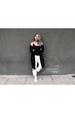 white Zara jeans - white tubular defiant sneakers