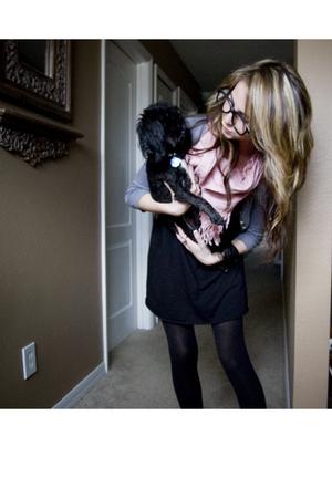 pink scarf - black Target dress - black Target tights