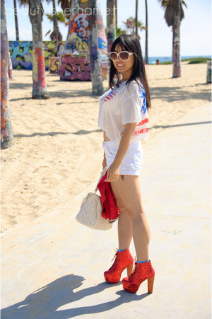 red Jeffrey Campbell boots - white Love Culture shirt - white H&M shorts