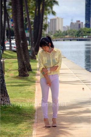green Forever 21 ring - light purple Tobicom jeans - carrot orange Zara sandals