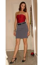 red Madame MS top - gray Drops de anis skirt - black Renner belt - silver Swatch