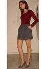 Red-renner-shirt-gray-renner-skirt-brown-c-a-shoes-silver-biju-accessories