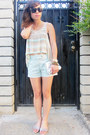 Jcrew-shorts-house-of-harlow-sunglasses-imported-t-shirt-hm-sandals