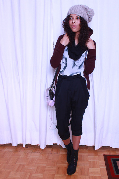 American Apparel blouse - H&M hat - American Apparel hoodie - BCBG pants