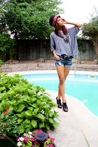 gray Forever 21 shirt - black Aldo shoes - red vintage scarf - blue shorts