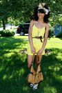 Yellow-dress-yellow-vintage-scarf-brown-jones-new-york-belt-brown-bag-be