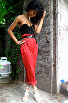 red vintage pants - beige Nine West shoes - black diy corset La Senza shirt