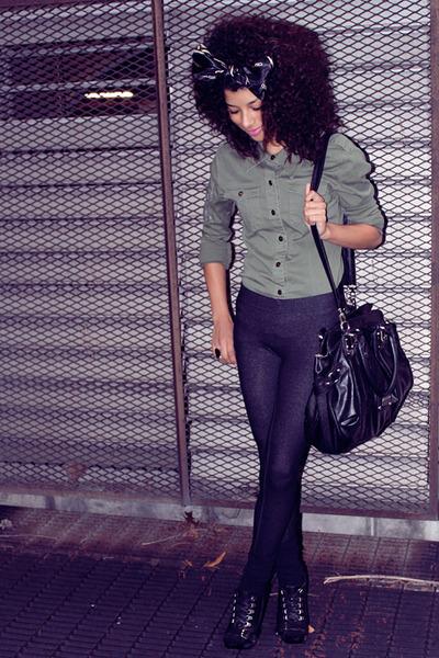 black Aldo shoes - black Forever21 leggings - Guess bag - green Sirens jacket
