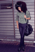 black Aldo shoes - black Forever21 leggings - Guess bag - green Sirens jacket