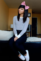 white Keds shoes - white American Apparel shirt - black American Apparel pants