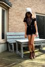 Brown-vintage-boots-blue-bluenotes-shorts-black-dynamite-shirt-gray-hat-