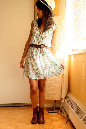 brown Jones New York belt - brown vintage boots - white Forever 21 dress