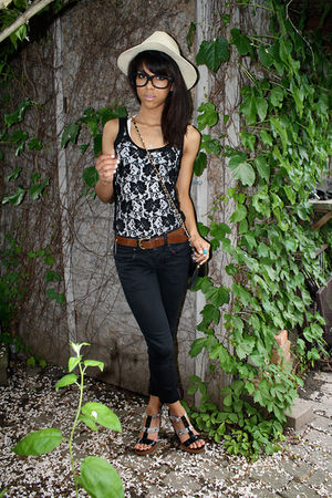 black lace Urban Outfitters shirt - black wedges Spring shoes