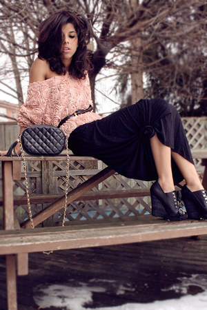 Aldo wedges - dress - thrift bag - American Apparel jumper