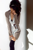 white Forever21 dress - brown sweater - brown Jones New York belt - black Urban