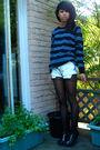 Blue-sweater-blue-vintage-levis-shorts-black-h-m-tights-black-aldo-shoes
