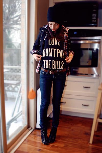 black Spring boots - black Forever 21 jacket - black dimepiece shirt