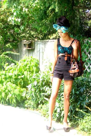 black Urban Outfitters shirt - blue shirt - blue scarf - black Sirens shorts