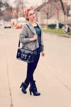 romwe cardigan - Mango boots - newt bag