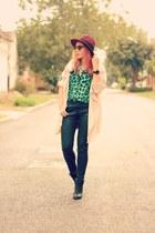 Choies hat - Choies coat - Zara jeans - romwe shirt