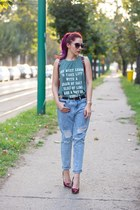 romwe top - Choies jeans - JD bag - Sheinside heels